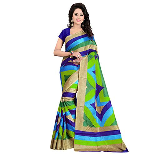 Stunning Multicolored Casual Wear Bhagalpuri Silk Saree