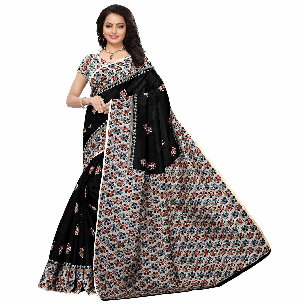 Beautiful Black Colored Casual Printed Mysore Silk Saree