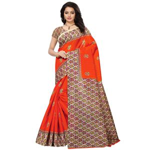 Gorgeous Orange Colored Casual Printed Mysore Silk Saree