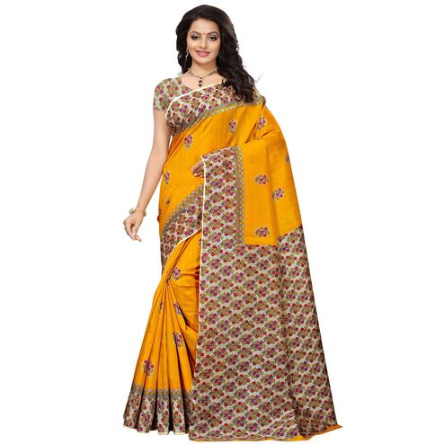 Classy Yellow Colored Casual Printed Mysore Silk Saree