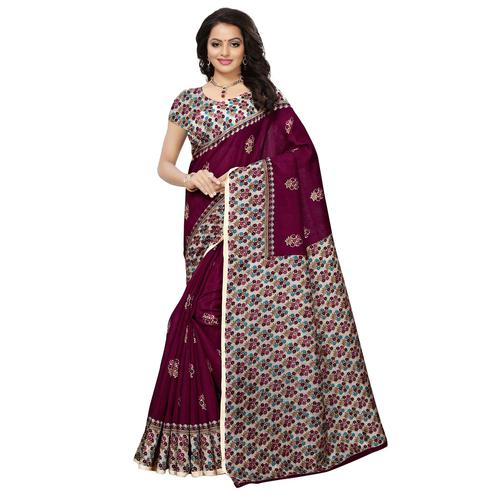 Graceful Dark Purple Colored Casual Printed Mysore Silk Saree