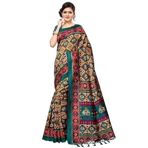 Pretty Beige-Green Colored Festive Wear Printed Mysore Silk Saree
