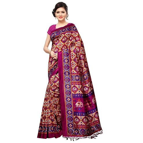 Charming Beige-Pink Colored Festive Wear Printed Mysore Silk Saree