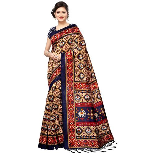 Ravishing Beige-Navy Blue Colored Festive Wear Printed Mysore Silk Saree