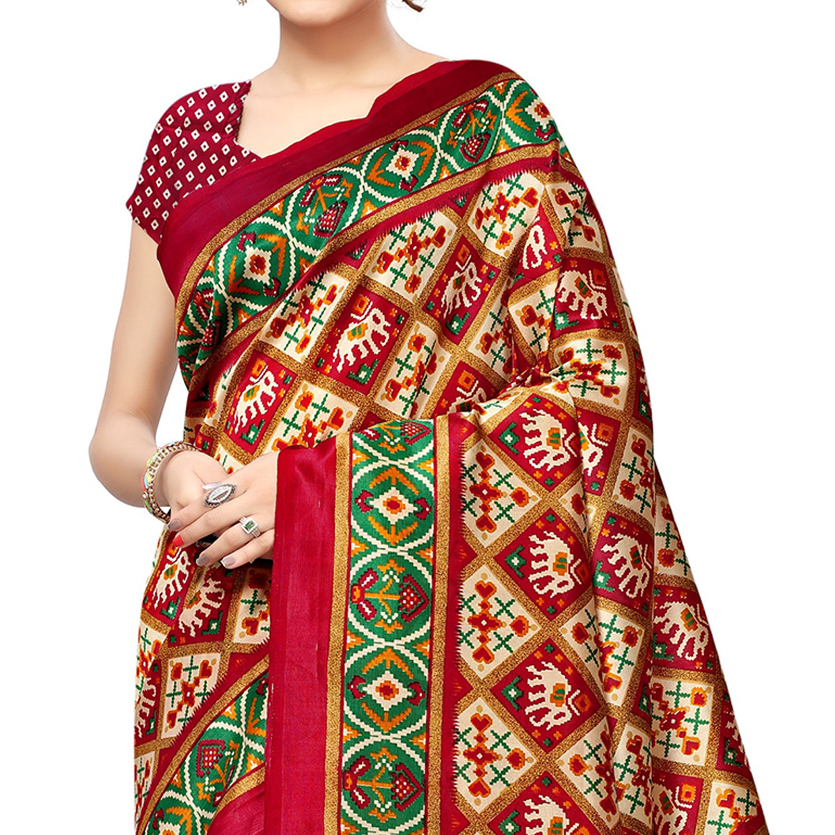 Delightful Beige-Red Colored Festive Wear Printed Mysore Silk Saree