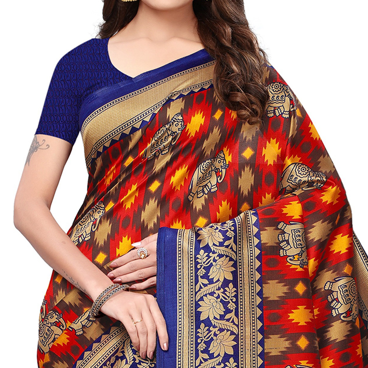 Stunning Red-Navy Blue Colored Festive Wear Printed Mysore Silk Saree