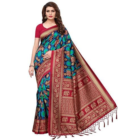 Blooming Blue-Red Colored Festive Wear Printed Mysore Silk Saree