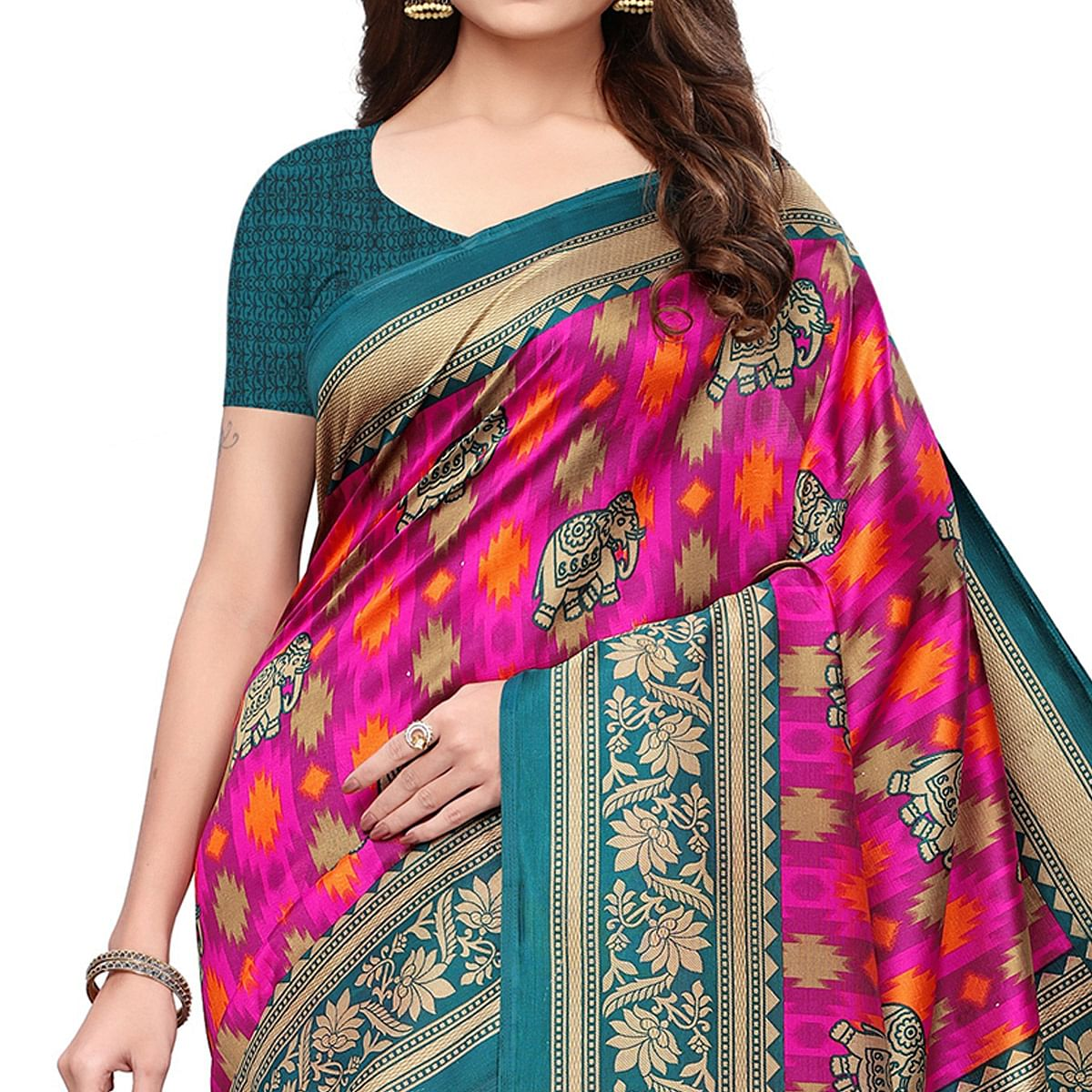 Marvellous Pink Colored Festive Wear Printed Mysore Silk Saree