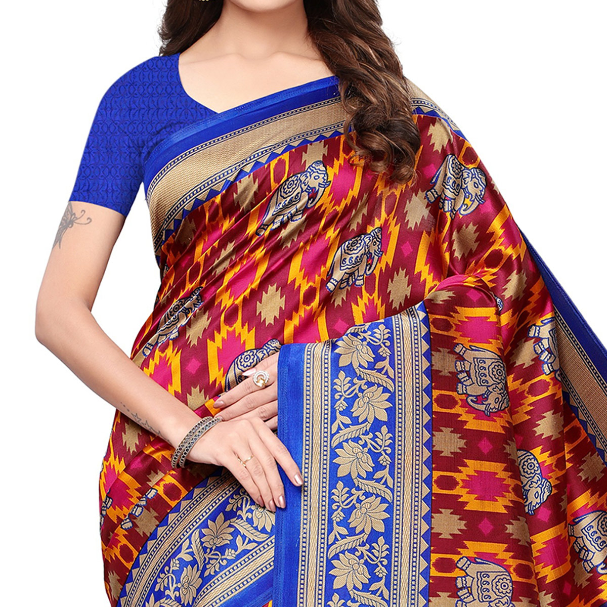Mesmerising Multicolored Festive Wear Printed Mysore Silk Saree