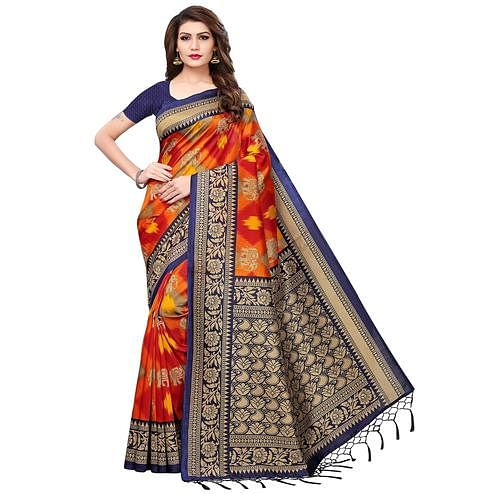 Ravishing Multi-Navy Blue Colored Festive Wear Printed Mysore Silk Saree