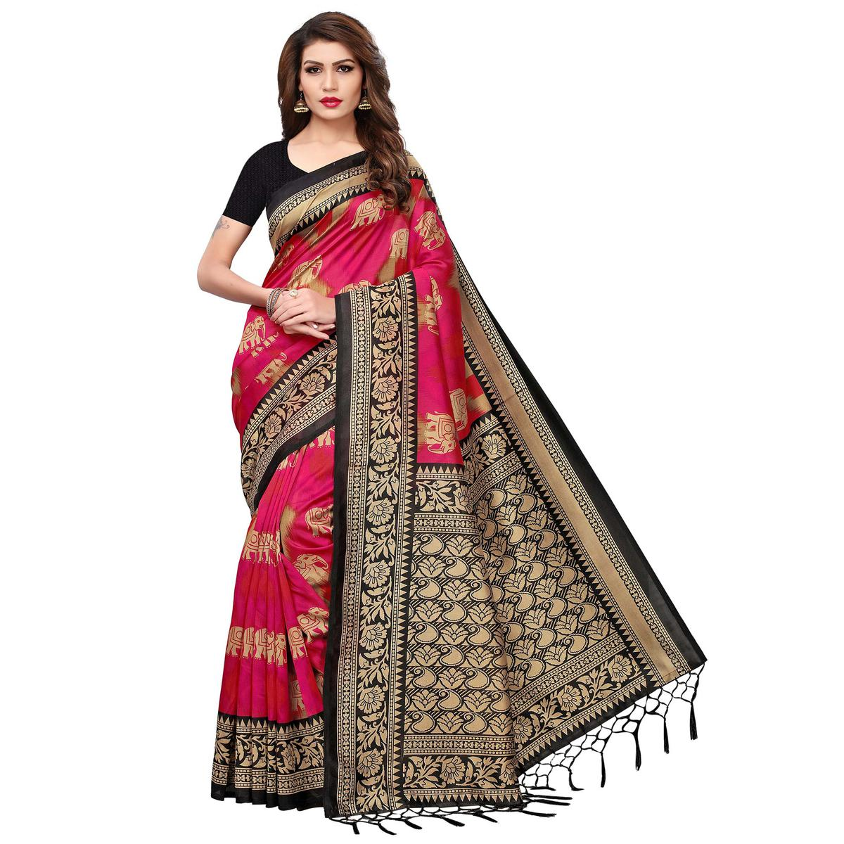 Eye-catching Deep Pink Colored Festive Wear Printed Mysore Silk Saree