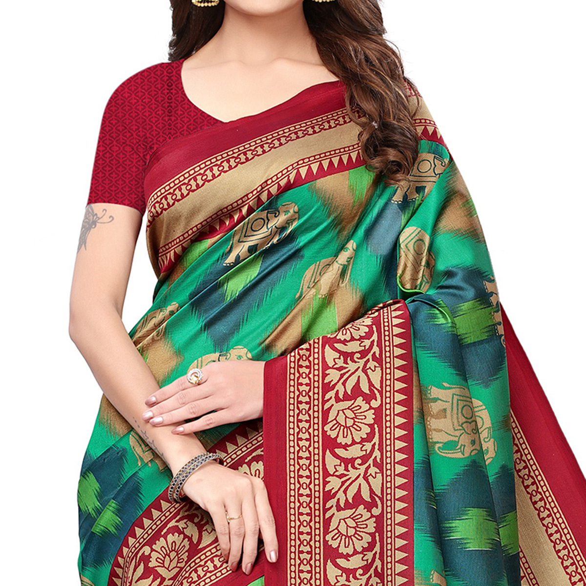 Amazing Green Colored Festive Wear Printed Mysore Silk Saree