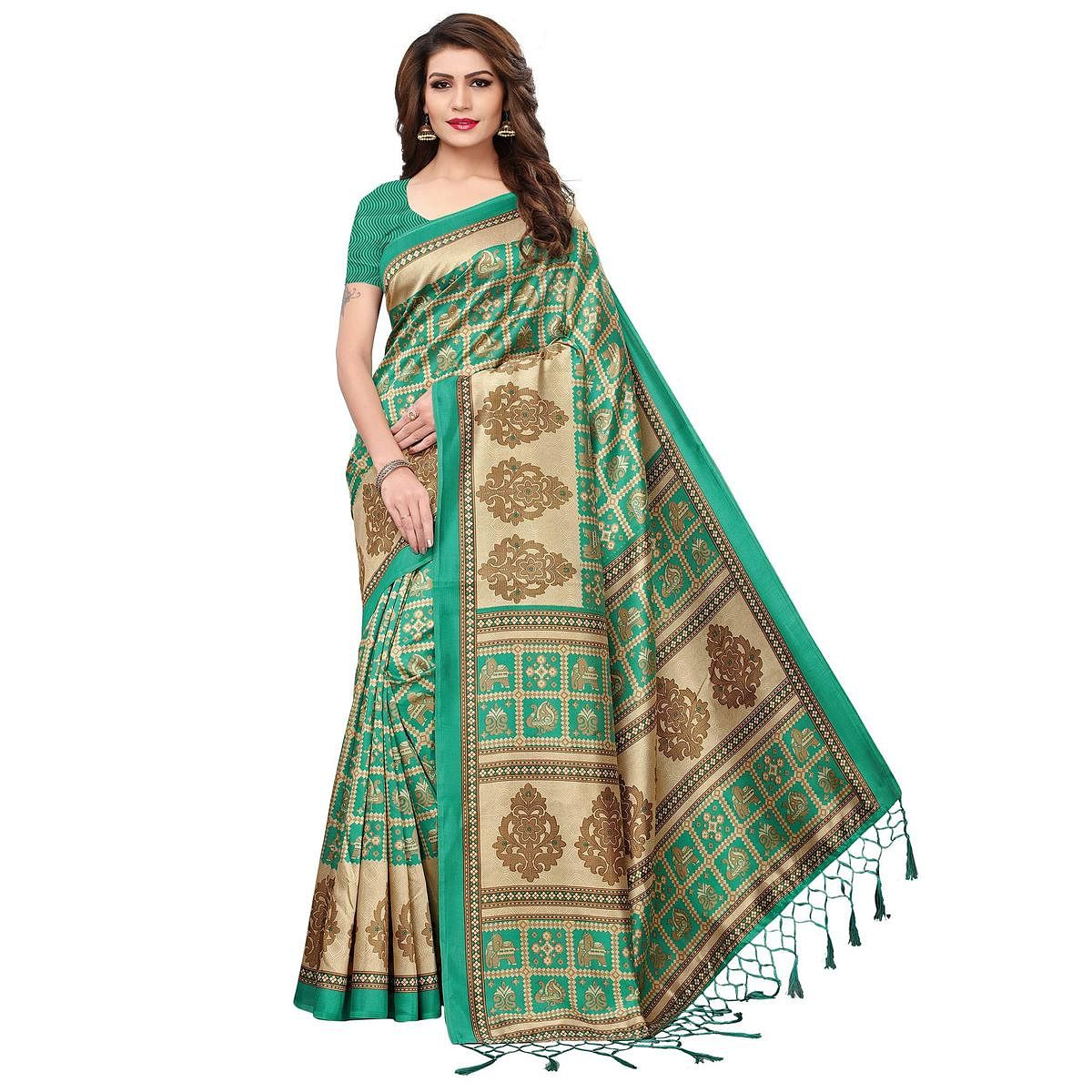 Preferable Green Colored Festive Wear Printed Mysore Silk Saree
