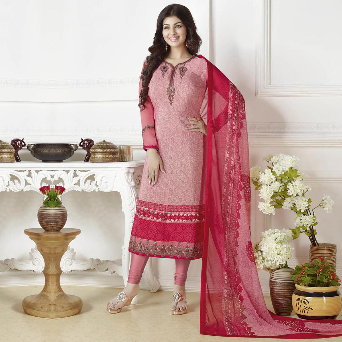Classy Light Pink Embroidered French Crepe Suit