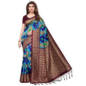 Beautiful Sky Blue-Brown Colored Festive Wear Printed Mysore Silk Saree