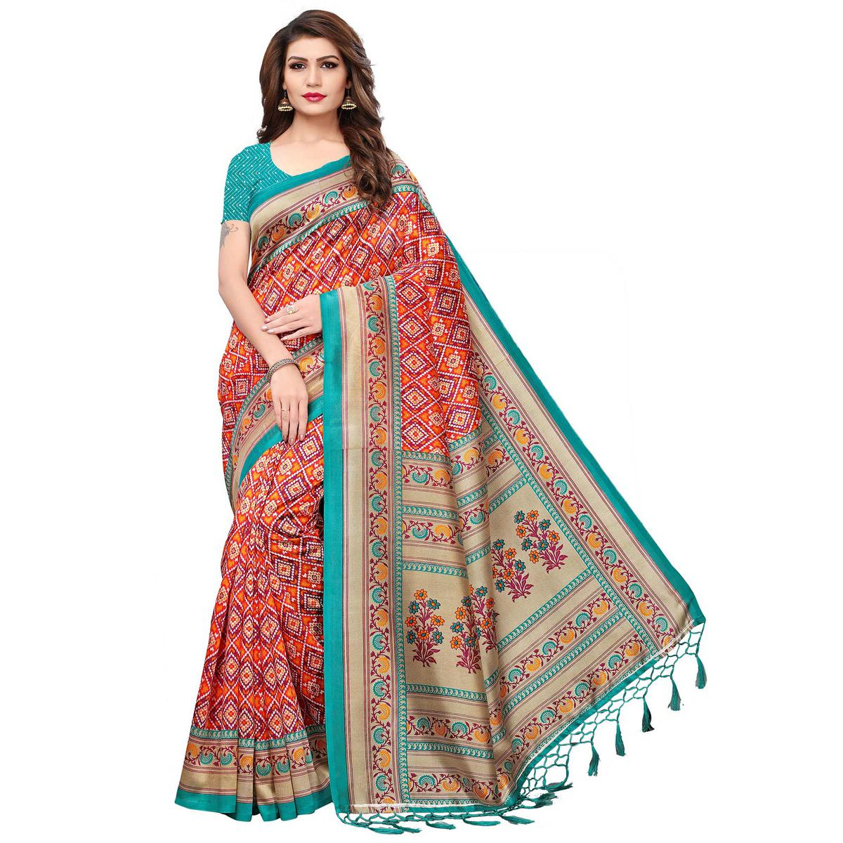 Classy Orange Colored Festive Wear Printed Mysore Silk Saree