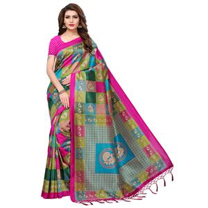 Glorious Multi-Pink Colored Festive Wear Printed Mysore Silk Saree