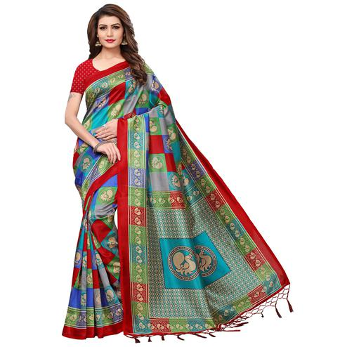 Graceful Multi-Red Colored Festive Wear Printed Mysore Silk Saree