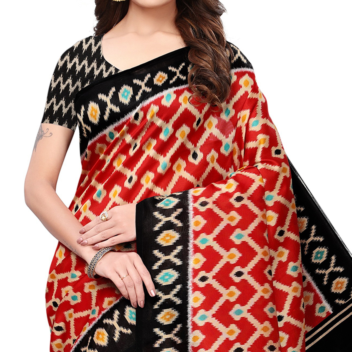 Lovely Red Colored Festive Wear Printed Mysore Silk Saree
