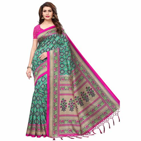 Pretty Green Colored Festive Wear Printed Mysore Silk Saree