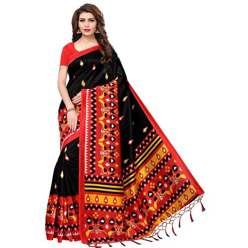 Charming Black Colored Festive Wear Printed Mysore Silk Saree