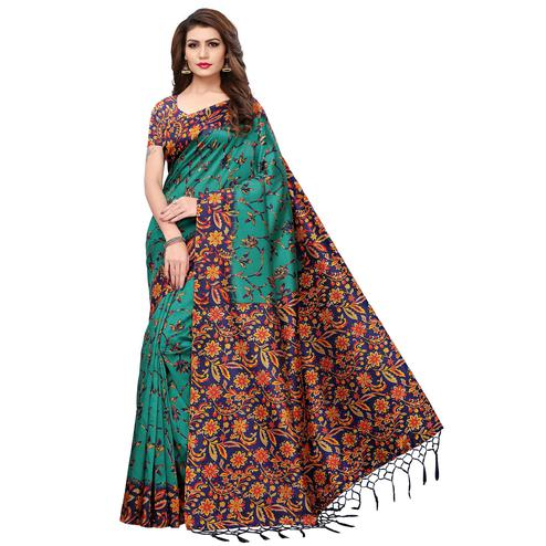 Ravishing Turquoise Blue Colored Festive Wear Printed Mysore Silk Saree