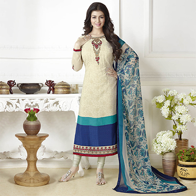 Elegant Cream Embroidered Partywear Suit