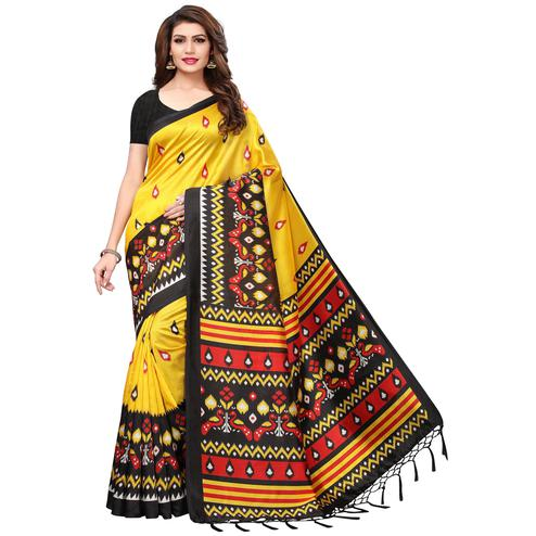 Intricate Yellow Colored Festive Wear Printed Mysore Silk Saree
