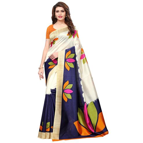 Desirable Off White-Navy Blue Colored Casual Printed Mysore Silk Saree