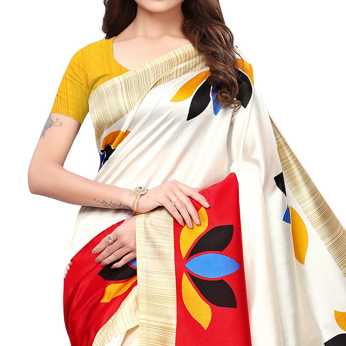 Sophisticated Off White-Red Colored Casual Printed Mysore Silk Saree