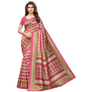 Demanding Beige-Pink Colored Casual Printed Mysore Silk Saree