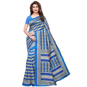Pleasant Beige-Blue Colored Casual Printed Mysore Silk Saree