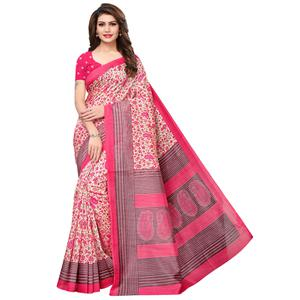 Unique Pink Colored Casual Printed Bhagalpuri Silk Saree