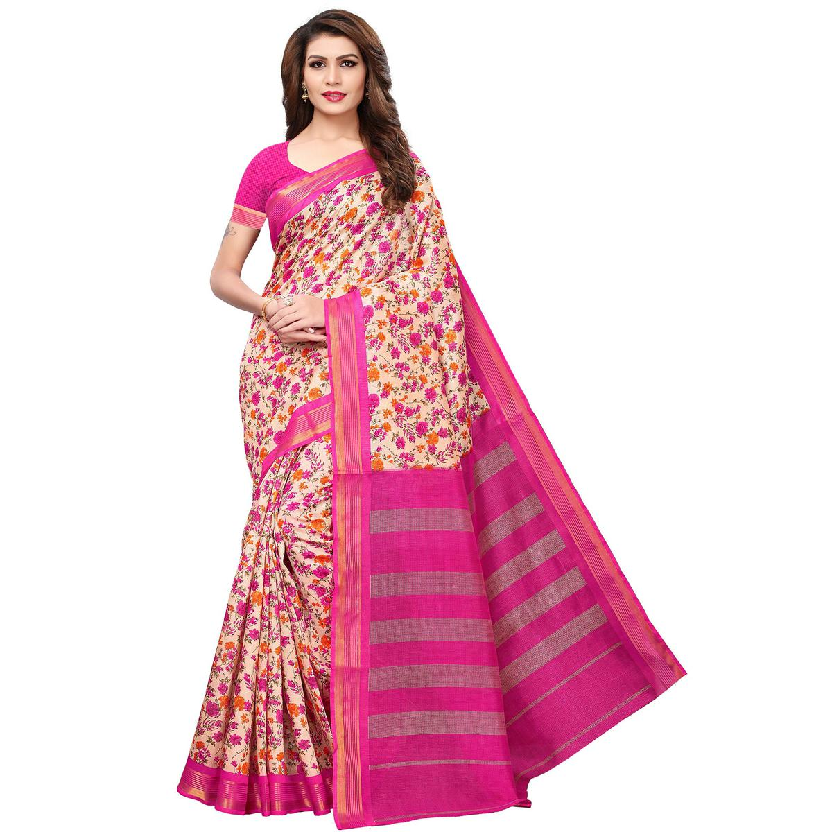 Refreshing Cream-Pink Colored Casual Printed Bhagalpuri Silk Saree