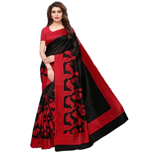 Elegant Black-Red Colored Casual Printed Bhagalpuri Silk Saree