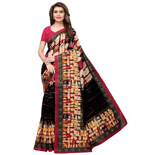 Alluring Black-Cream Colored Casual Printed Bhagalpuri Silk Saree