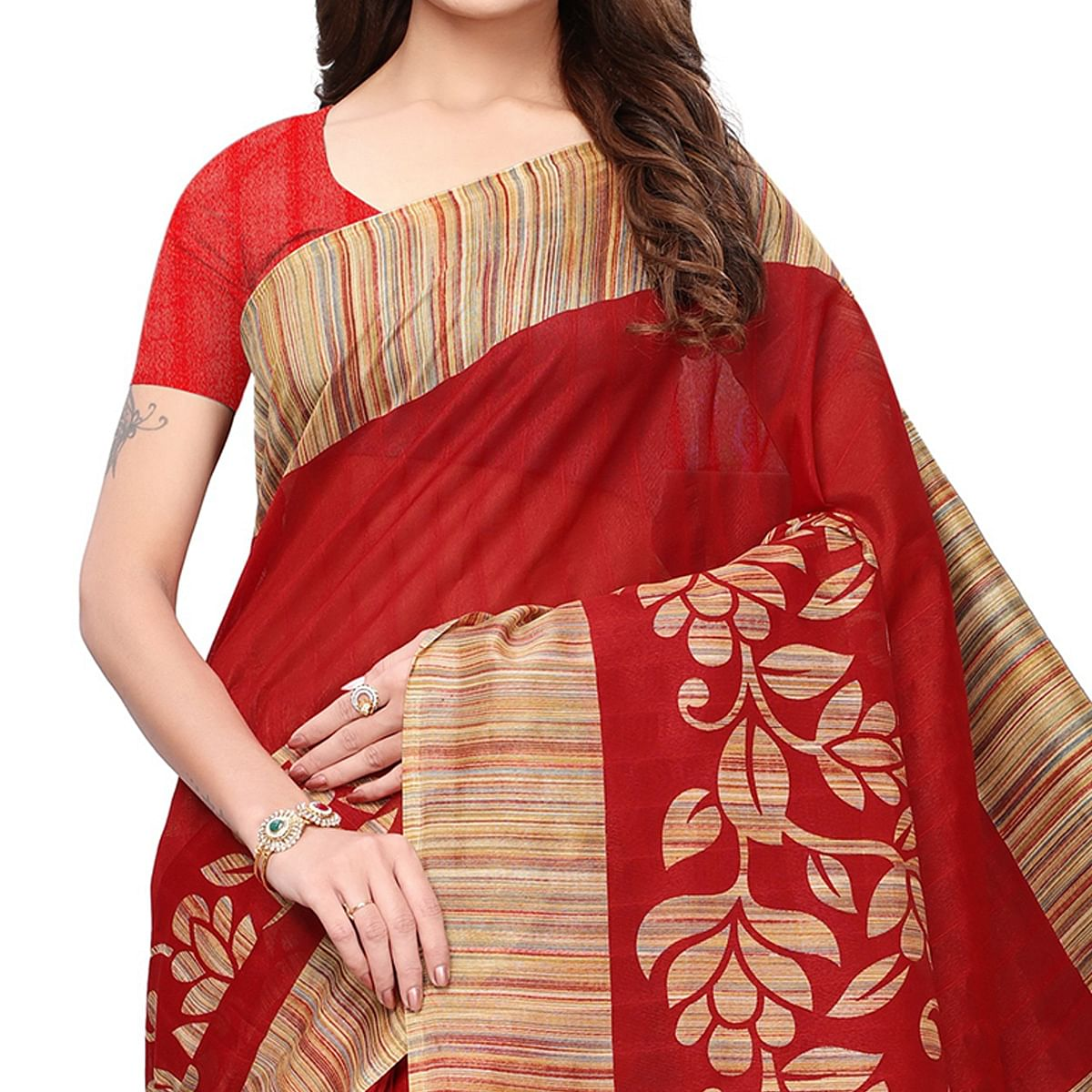 Radiant Red Colored Casual Printed Bhagalpuri Silk Saree