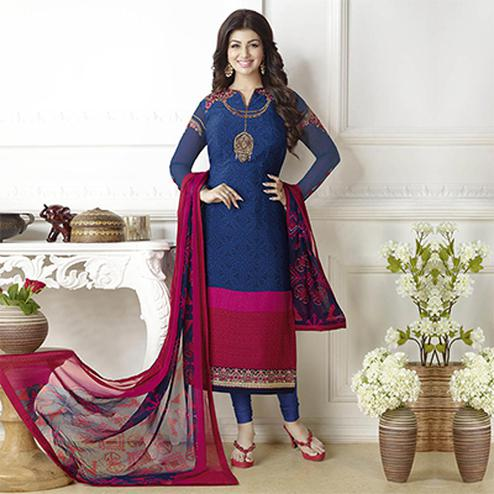 Stunning Navy Blue Floral Embroidered French Crepe Suit