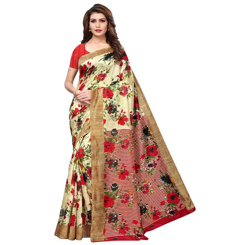 Sensational Cream-Red Colored Casual Printed Bhagalpuri Silk Saree