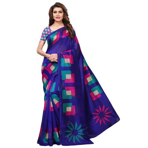 Flattering Dark Blue Colored Casual Printed Bhagalpuri Silk Saree