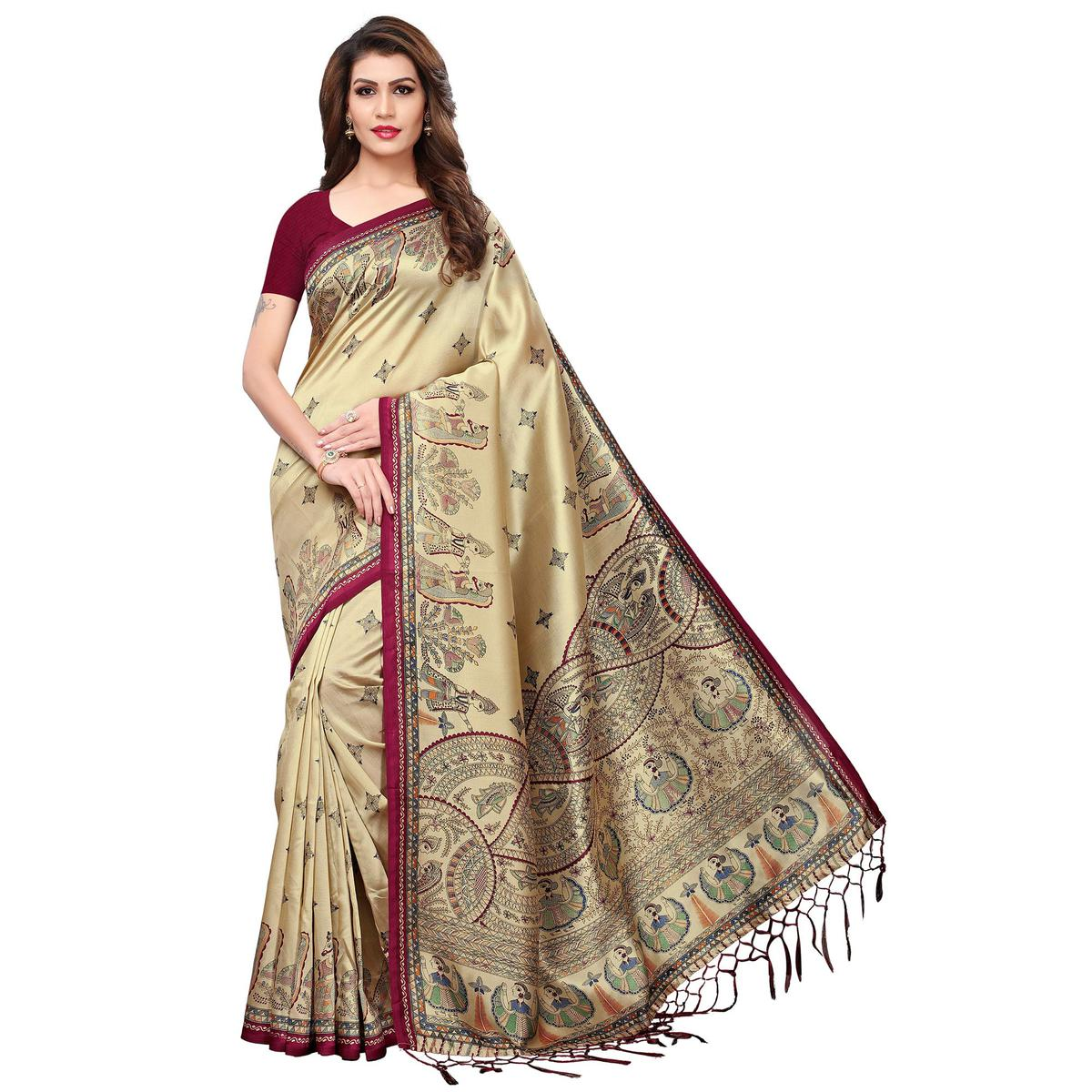 Breathtaking Beige-Maroon Colored Festive Wear Printed Mysore Silk Saree