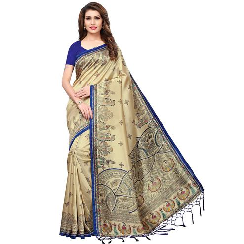 Impressive Beige-Blue Colored Festive Wear Printed Mysore Silk Saree