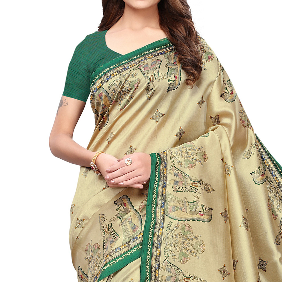 Innovative Beige-Green Colored Festive Wear Printed Mysore Silk Saree