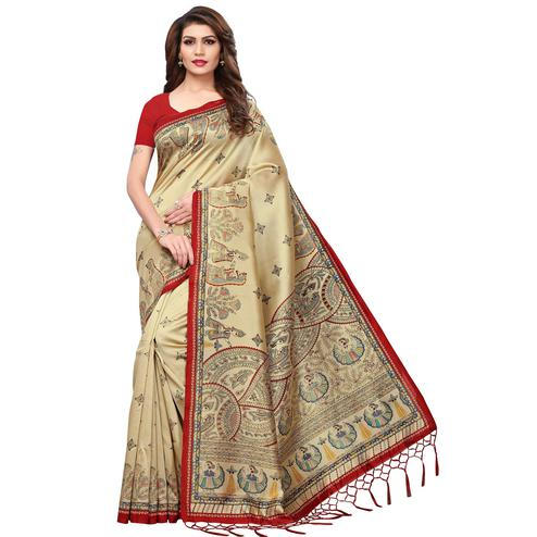 Gleaming Beige-Red Colored Festive Wear Printed Mysore Silk Saree