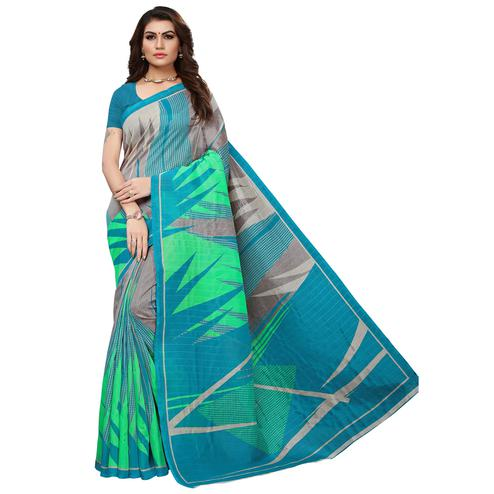 Exceptional Blue-Green Colored Casual Printed Bhagalpuri Silk Saree