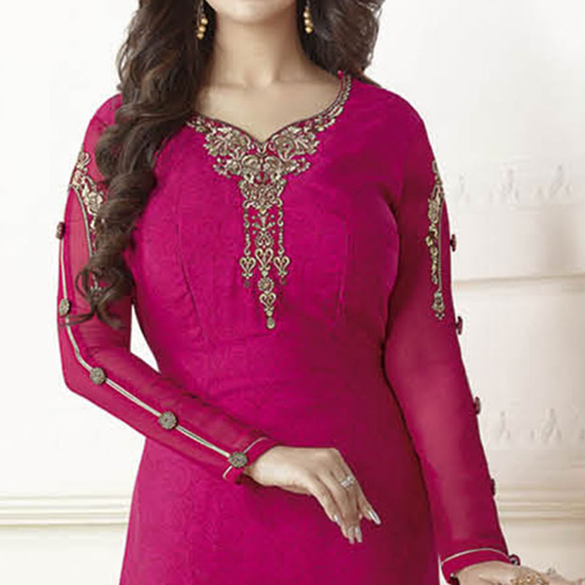 Mesmerizing Magenta Pink French Crepe Suit