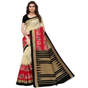 Excellent Cream-Red Colored Casual Printed Bhagalpuri Silk Saree