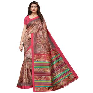 Ethnic Pink Colored Casual Printed Mysore Silk Saree