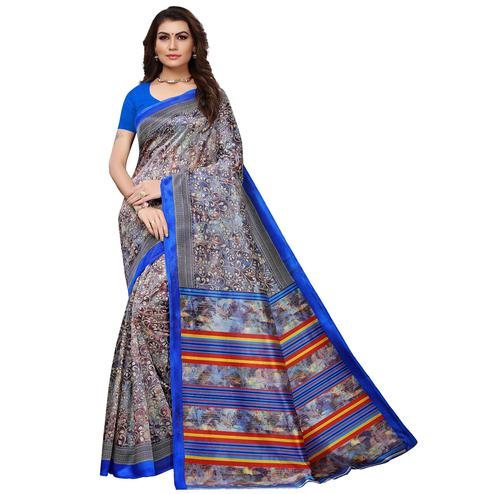 Starring Blue Colored Casual Printed Mysore Silk Saree
