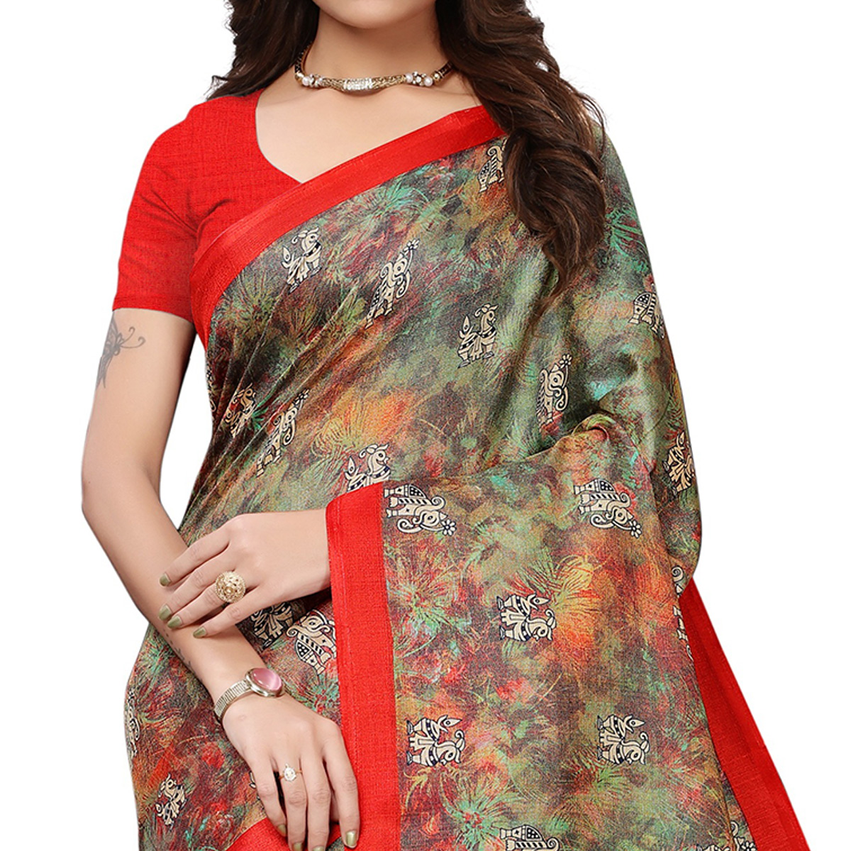 Surpassing Multi-Red Colored Casual Printed Khadi Silk Saree